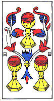 Three of Cups from the Tarot of Marseilles by Carta Muni