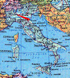 Map of Modern Italy