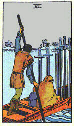 Six of Swords from The Rider Tarot