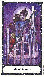 Six of Swords from the Sacred Rose Tarot