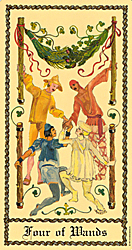 Four of Wands from The Medieval Scapini Tarot