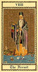 The Hermit from the Medieval Scapini Tarot