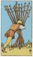 Ten of Wands from The Rider Tarot Deck