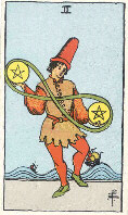 Two of Pentacles from The Rider Tarot Deck