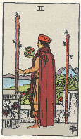 Two of Wands from The Rider Tarot Deck
