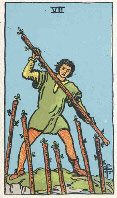 Seven of Wands from The Rider Tarot Deck