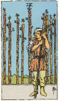 Nine of Wands from The Rider Tarot Deck